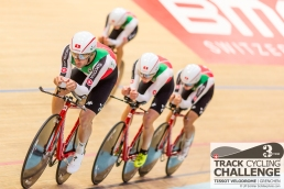Swiss Team pursuit team lead by Tristan MARGUET (SAM - SAMSUNG, SUI) at the UCI TRACK CYCLING CHALLENGE 2017 on December, 20 2017 in Grenchen (Tissot Velodrome), Schweiz, Photo Credit: Ulf Schiller 2017
