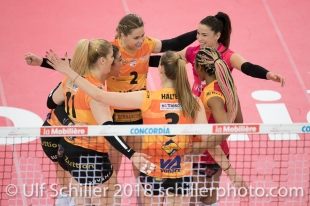 Viteos NUC mit Punktgewinn im Schweizer Cup Final zwischen Viteos NUC Neuchatel und Volero Zurich; VOLLEYBALL CUP FINAL 2018 am 31 March, 2018 in Fribourg (St. Leonhard-Halle), Schweiz, Photo Credit: Ulf Schiller / freshfocus