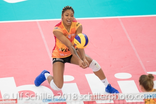 Tiana Dockerey during the Swiss Volleyball Cup Final 2018