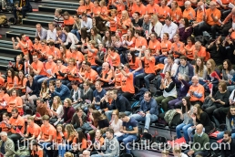 Fans Viteos NUC im Schweizer Cup Final zwischen Viteos NUC Neuchatel und Volero Zurich; VOLLEYBALL CUP FINAL 2018 am 31 March, 2018 in Fribourg (St. Leonhard-Halle), Schweiz, Photo Credit: Ulf Schiller / freshfocus
