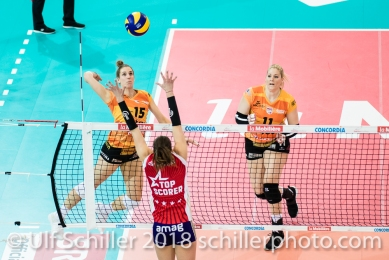 Angriff durch Segolene GIRARD (Viteos NUC #15) im Schweizer Cup Final zwischen Viteos NUC Neuchatel und Volero Zurich; VOLLEYBALL CUP FINAL 2018 am 31 March, 2018 in Fribourg (St. Leonhard-Halle), Schweiz, Photo Credit: Ulf Schiller / freshfocus