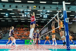 Angriff durch Laura UNTERNAEHRER (Volero Zurich #17) im Schweizer Cup Final zwischen Viteos NUC Neuchatel und Volero Zurich; VOLLEYBALL CUP FINAL 2018 am 31 March, 2018 in Fribourg (St. Leonhard-Halle), Schweiz, Photo Credit: Ulf Schiller / freshfocus