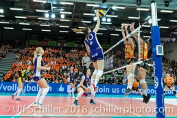 Angriff durch Ana Bjelica (Volero Zurich #10) im Schweizer Cup Final zwischen Viteos NUC Neuchatel und Volero Zurich; VOLLEYBALL CUP FINAL 2018 am 31 March, 2018 in Fribourg (St. Leonhard-Halle), Schweiz, Photo Credit: Ulf Schiller / freshfocus