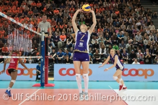 Ana ANTONIJEVIC (Volero Zurich #7 C) im Schweizer Cup Final zwischen Viteos NUC Neuchatel und Volero Zurich; VOLLEYBALL CUP FINAL 2018 am 31 March, 2018 in Fribourg (St. Leonhard-Halle), Schweiz, Photo Credit: Ulf Schiller / freshfocus