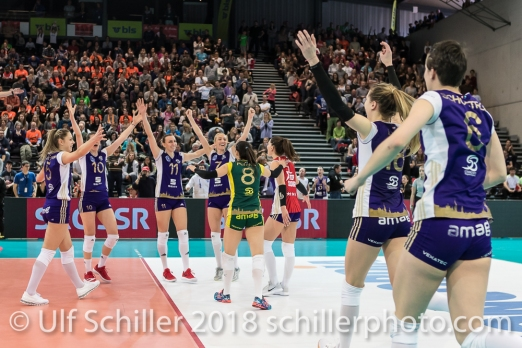Matchpoint. Volero Zurich gewinnt im Schweizer Cup Final zwischen Viteos NUC Neuchatel und Volero Zurich; VOLLEYBALL CUP FINAL 2018 am 31 March, 2018 in Fribourg (St. Leonhard-Halle), Schweiz, Photo Credit: Ulf Schiller / freshfocus