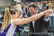 Ana Bjelica (Volero Zurich #10) und Stav Jacobi im Schweizer Cup Final zwischen Viteos NUC Neuchatel und Volero Zurich; VOLLEYBALL CUP FINAL 2018 am 31 March, 2018 in Fribourg (St. Leonhard-Halle), Schweiz, Photo Credit: Ulf Schiller / freshfocus