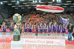 Volero Zurich Sieger im Schweizer Cup Final zwischen Viteos NUC Neuchatel und Volero Zurich; VOLLEYBALL CUP FINAL 2018 am 31 March, 2018 in Fribourg (St. Leonhard-Halle), Schweiz, Photo Credit: Ulf Schiller / freshfocus