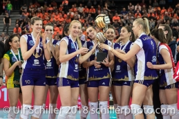 Volero Zurich siegt im Schweizer Cup Final zwischen Viteos NUC Neuchatel und Volero Zurich; VOLLEYBALL CUP FINAL 2018 am 31 March, 2018 in Fribourg (St. Leonhard-Halle), Schweiz, Photo Credit: Ulf Schiller / freshfocus