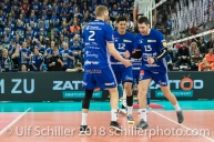 Punkt durch Nemanja Jakovljevic (Volley Amriswil #13) im Schweizer Cup Final zwischen Biogas Volley Naefels und Volley Amriswil; VOLLEYBALL CUP FINAL 2018 am 31 March, 2018 in Fribourg (St. Leonhard-Halle), Schweiz, Photo Credit: Ulf Schiller / freshfocus
