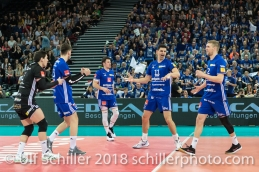 Punkt fuer Volley Amriswil im Schweizer Cup Final zwischen Biogas Volley Naefels und Volley Amriswil; VOLLEYBALL CUP FINAL 2018 am 31 March, 2018 in Fribourg (St. Leonhard-Halle), Schweiz, Photo Credit: Ulf Schiller / freshfocus