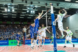 Angriff durch Formela Konrad (Biogas Volley Naefels #3) im Schweizer Cup Final zwischen Biogas Volley Naefels und Volley Amriswil; VOLLEYBALL CUP FINAL 2018 am 31 March, 2018 in Fribourg (St. Leonhard-Halle), Schweiz, Photo Credit: Ulf Schiller / freshfocus