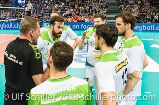 Auszeit fuer Biogas Volley Naefels im Schweizer Cup Final zwischen Biogas Volley Naefels und Volley Amriswil; VOLLEYBALL CUP FINAL 2018 am 31 March, 2018 in Fribourg (St. Leonhard-Halle), Schweiz, Photo Credit: Ulf Schiller / freshfocus