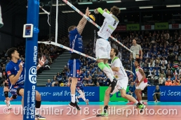 Punkt durch Radomski Jakub (Biogas Volley Naefels #9) im Schweizer Cup Final zwischen Biogas Volley Naefels und Volley Amriswil; VOLLEYBALL CUP FINAL 2018 am 31 March, 2018 in Fribourg (St. Leonhard-Halle), Schweiz, Photo Credit: Ulf Schiller / freshfocus
