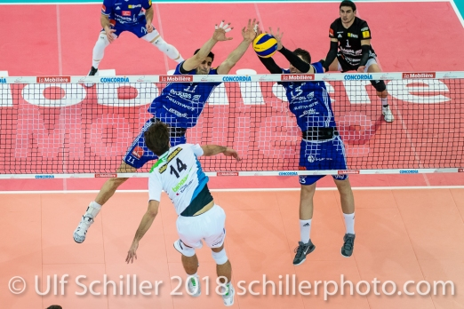 Ehrat Samuel (14), Aleksandar Ljubicic (11) and Nemanja Jakovljevic (13) during the Swiss Volleyball Cup Final 2018