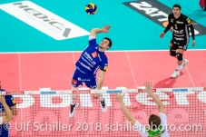 Der Swiss MVP des Jahres Jovan Djokic im Schweizer Cup Final zwischen Biogas Volley Naefels und Volley Amriswil; VOLLEYBALL CUP FINAL 2018 am 31 March, 2018 in Fribourg (St. Leonhard-Halle), Schweiz, Photo Credit: Ulf Schiller