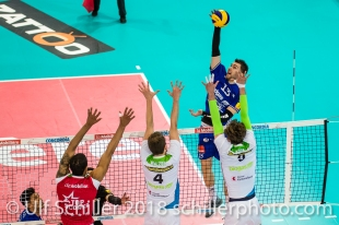 im Schweizer Cup Final zwischen Biogas Volley Naefels und Volley Amriswil; VOLLEYBALL CUP FINAL 2018 am 31 March, 2018 in Fribourg (St. Leonhard-Halle), Schweiz, Photo Credit: Ulf Schiller / freshfocus