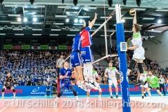 im Schweizer Cup Final zwischen Biogas Volley Naefels und Volley Amriswil; VOLLEYBALL CUP FINAL 2018 am 31 March, 2018 in Fribourg (St. Leonhard-Halle), Schweiz, Photo Credit: Ulf Schiller / freshfocus