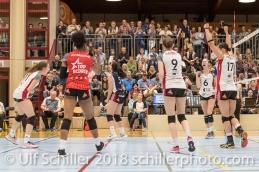 Jubel bei TS Volley Duedingen Powercats; Volleyball, NLA 2017/18,, Spiel 2 um Platz 3:, TS Volley Duedingen vs Kanti Schaffhausen am 18 April, 2018 in Duedingen (Sportzentrum Leimacker), Schweiz, Photo Credit: Ulf Schiller / FRESHFOCUS