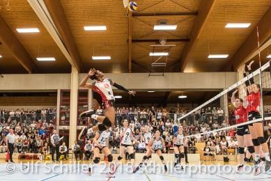 Danielle HARBIN (TS Volley Duedingen #3); Volleyball, NLA 2017/18,, Spiel 2 um Platz 3:, TS Volley Duedingen vs Kanti Schaffhausen am 18 April, 2018 in Duedingen (Sportzentrum Leimacker), Schweiz, Photo Credit: Ulf Schiller