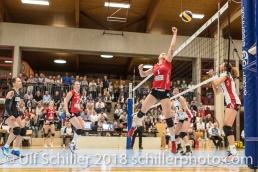 Caila STAPLETON (VC Kanti Schaffhausen #1); Volleyball, NLA 2017/18,, Spiel 2 um Platz 3:, TS Volley Duedingen vs Kanti Schaffhausen am 18 April, 2018 in Duedingen (Sportzentrum Leimacker), Schweiz, Photo Credit: Ulf Schiller / FRESHFOCUS