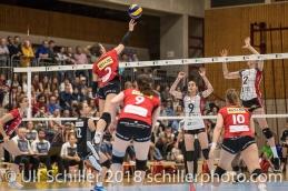 Korina Perkovac (VC Kanti Schaffhausen #2); Volleyball, NLA 2017/18,, Spiel 2 um Platz 3:, TS Volley Duedingen vs Kanti Schaffhausen am 18 April, 2018 in Duedingen (Sportzentrum Leimacker), Schweiz, Photo Credit: Ulf Schiller