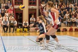 Flavia KNUTTI (TS Volley Duedingen #16); Volleyball, NLA 2017/18,, Spiel 2 um Platz 3:, TS Volley Duedingen vs Kanti Schaffhausen am 18 April, 2018 in Duedingen (Sportzentrum Leimacker), Schweiz, Photo Credit: Ulf Schiller