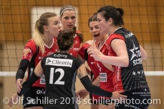 ; Volleyball, NLA 2017/18,, Spiel 2 um Platz 3:, TS Volley Duedingen vs Kanti Schaffhausen am 18 April, 2018 in Duedingen (Sportzentrum Leimacker), Schweiz, Photo Credit: Ulf Schiller