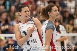 Sabel MOFFETT (TS Volley Duedingen #17); Volleyball, NLA 2017/18,, Spiel 2 um Platz 3:, TS Volley Duedingen vs Kanti Schaffhausen am 18 April, 2018 in Duedingen (Sportzentrum Leimacker), Schweiz, Photo Credit: Ulf Schiller