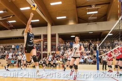 Thays DEPRATI (TS Volley Duedingen #5); Volleyball, NLA 2017/18,, Spiel 2 um Platz 3:, TS Volley Duedingen vs Kanti Schaffhausen am 18 April, 2018 in Duedingen (Sportzentrum Leimacker), Schweiz, Photo Credit: Ulf Schiller