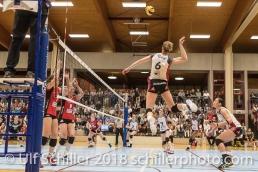 Courtney FELINSKI (TS Volley Duedingen #6); Volleyball, NLA 2017/18,, Spiel 2 um Platz 3:, TS Volley Duedingen vs Kanti Schaffhausen am 18 April, 2018 in Duedingen (Sportzentrum Leimacker), Schweiz, Photo Credit: Ulf Schiller