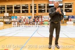 TS Volley Duedingen Powercats Praesident Christian Marbach ; Volleyball, NLA 2017/18,, Spiel 2 um Platz 3:, TS Volley Duedingen vs Kanti Schaffhausen am 18 April, 2018 in Duedingen (Sportzentrum Leimacker), Schweiz, Photo Credit: Ulf Schiller