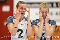 Kerley BECKER (TS Volley Duedingen #2) und Courtney FELINSKI (TS Volley Duedingen #6); Volleyball, NLA 2017/18,, Spiel 2 um Platz 3:, TS Volley Duedingen vs Kanti Schaffhausen am 18 April, 2018 in Duedingen (Sportzentrum Leimacker), Schweiz, Photo Credit: Ulf Schiller / FRESHFOCUS