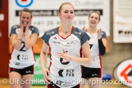 Courtney FELINSKI (TS Volley Duedingen #6) gets the MVP award; Volleyball, NLA 2017/18,, Spiel 2 um Platz 3:, TS Volley Duedingen vs Kanti Schaffhausen am 18 April, 2018 in Duedingen (Sportzentrum Leimacker), Schweiz, Photo Credit: Ulf Schiller / FRESHFOCUS