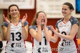 Ines GRANVORKA (TS Volley Duedingen #13), Pamela GFELLER (TS Volley Duedingen #11), Kristel MARBACH (TS Volley Duedingen #9 C); Volleyball, NLA 2017/18,, Spiel 2 um Platz 3:, TS Volley Duedingen vs Kanti Schaffhausen am 18 April, 2018 in Duedingen (Sportzentrum Leimacker), Schweiz, Photo Credit: Ulf Schiller / FRESHFOCUS
