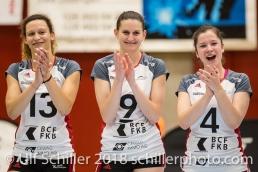 Ines GRANVORKA (TS Volley Duedingen #13), Kristel MARBACH (TS Volley Duedingen #9 C), Zora WIDMER (TS Volley Duedingen #4); Volleyball, NLA 2017/18,, Spiel 2 um Platz 3:, TS Volley Duedingen vs Kanti Schaffhausen am 18 April, 2018 in Duedingen (Sportzentrum Leimacker), Schweiz, Photo Credit: Ulf Schiller / FRESHFOCUS
