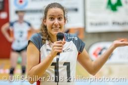 Abschied fuer Pamela GFELLER (TS Volley Duedingen #11); Volleyball, NLA 2017/18,, Spiel 2 um Platz 3:, TS Volley Duedingen vs Kanti Schaffhausen am 18 April, 2018 in Duedingen (Sportzentrum Leimacker), Schweiz, Photo Credit: Ulf Schiller / FRESHFOCUS