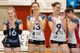 Flavia KNUTTI (TS Volley Duedingen #16), Ines GRANVORKA (TS Volley Duedingen #13), Kristel MARBACH (TS Volley Duedingen #9 C), Zora WIDMER (TS Volley Duedingen #4); Volleyball, NLA 2017/18,, Spiel 2 um Platz 3:, TS Volley Duedingen vs Kanti Schaffhausen am 18 April, 2018 in Duedingen (Sportzentrum Leimacker), Schweiz, Photo Credit: Ulf Schiller / FRESHFOCUS