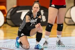 Johanna EDBERG (VC Kanti Schaffhausen #12); Volleyball, NLA 2017/18,, Spiel 2 um Platz 3:, TS Volley Duedingen vs Kanti Schaffhausen am 18 April, 2018 in Duedingen (Sportzentrum Leimacker), Schweiz, Photo Credit: Ulf Schiller / FRESHFOCUS