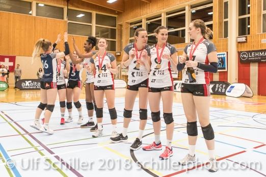 ; Volleyball, NLA 2017/18,, Spiel 2 um Platz 3:, TS Volley Duedingen vs Kanti Schaffhausen am 18 April, 2018 in Duedingen (Sportzentrum Leimacker), Schweiz, Photo Credit: Ulf Schiller / FRESHFOCUS