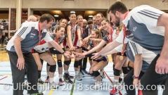 Jubel bei TS Volley Duedingen Powercats ueber die Bronzemedaille; Volleyball, NLA 2017/18,, Spiel 2 um Platz 3:, TS Volley Duedingen vs Kanti Schaffhausen am 18 April, 2018 in Duedingen (Sportzentrum Leimacker), Schweiz, Photo Credit: Ulf Schiller
