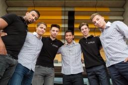 CITIUS meeting 2018 team: v.l. Abdul Omar, Bas de Graaf, Franco Noti, Raphael Clemencio, Julien Christen, Matyas Kobrehel, Bern, Wankdorf Stadion, 10.5.2018, Photo Credit: Ulf Schiller
