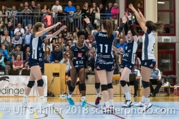 Block by Danielle Harbin (Volley Duedingen #3) Volleyball NLA 2018-2019 TS Volley Duedingen vs Viteos NUC am 17.10.18 im Sportzentrum Leimacker in Duedingen (Schweiz).