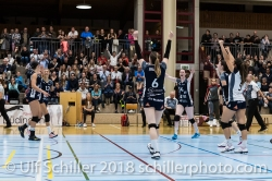 Match point for Volley Duedingen Volleyball NLA 2018-2019 TS Volley Duedingen vs Viteos NUC am 17.10.18 im Sportzentrum Leimacker in Duedingen (Schweiz).
