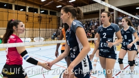 Tabea Dailliard (Viteos NUC #9) and Kristel Marbach (Volley Duedingen #9) Volleyball NLA 2018-2019 TS Volley Duedingen vs Viteos NUC am 17.10.18 im Sportzentrum Leimacker in Duedingen (Schweiz).