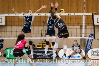 Martenne Bettendorf (Viteos NUC #18) Volleyball NLA 2018-2019 TS Volley Duedingen vs Viteos NUC am 17.10.18 im Sportzentrum Leimacker in Duedingen (Schweiz).