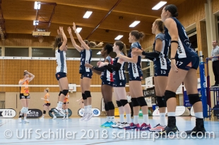 Thays Deprati (Volley Duedingen #5) before the match Volleyball NLA 2018-2019 TS Volley Duedingen vs Viteos NUC am 17.10.18 im Sportzentrum Leimacker in Duedingen (Schweiz).