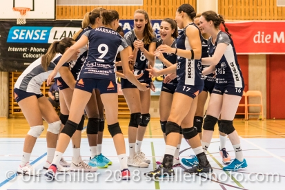 Volley Duedingen Powercats at match start Volleyball Preseason 2018-19 Testmatch am 06.10.18 im Sportzentrum Leimacker in Duedingen (Schweiz).