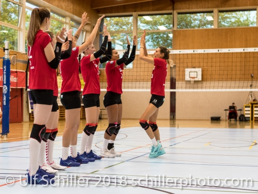 Rote Raben Vilsbiburg starting six Volleyball Preseason 2018-19 Testmatch am 06.10.18 im Sportzentrum Leimacker in Duedingen (Schweiz).