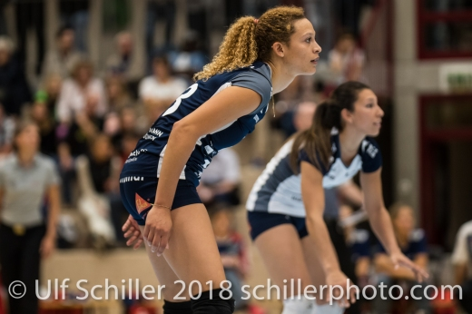 Ines Granvorka (Volley Duedingen #13) Volleyball Preseason 2018-19 Testmatch am 06.10.18 im Sportzentrum Leimacker in Duedingen (Schweiz).