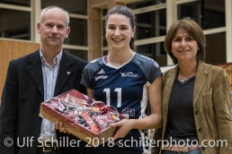 mvp award for Sarina Brunner (Volley Duedingen #11) Volleyball Preseason 2018-19 Testmatch am 06.10.18 im Sportzentrum Leimacker in Duedingen (Schweiz).